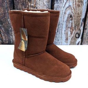NEW BearPaw Elle Wine Suede Low Wool Boots 9